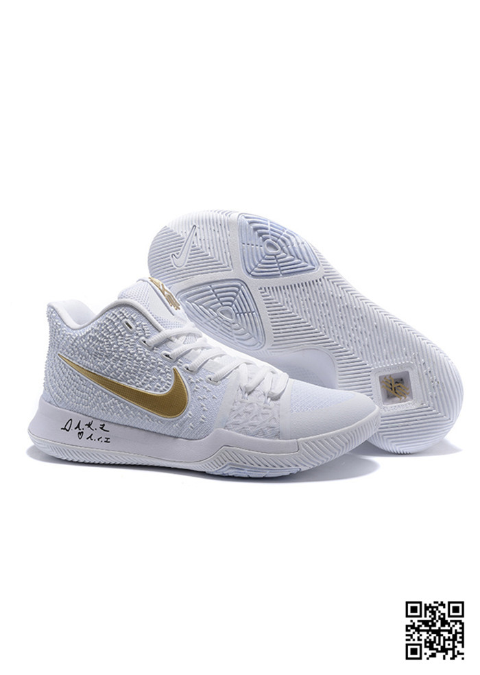 KYR-689047 Sale Nike Kyrie 3 Shoes White Gold White