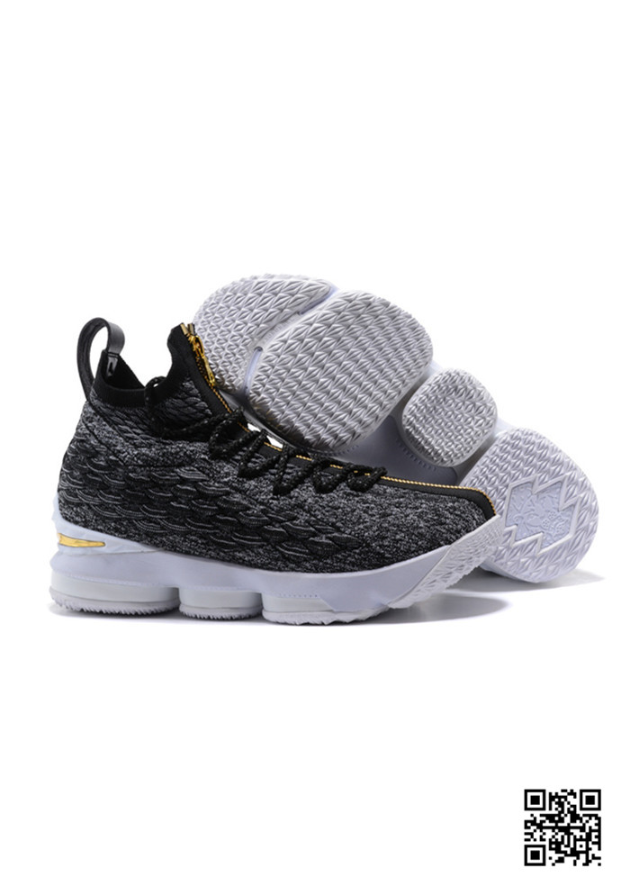 HJK-689504 Sale Nike Lebron 15 Black Gold White